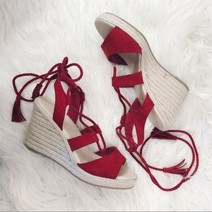 Star Collection   Red Espadrille Heels - Size 8